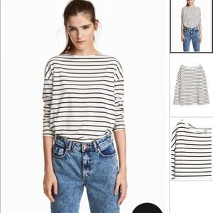 Long White and Black Striped Jersey Top